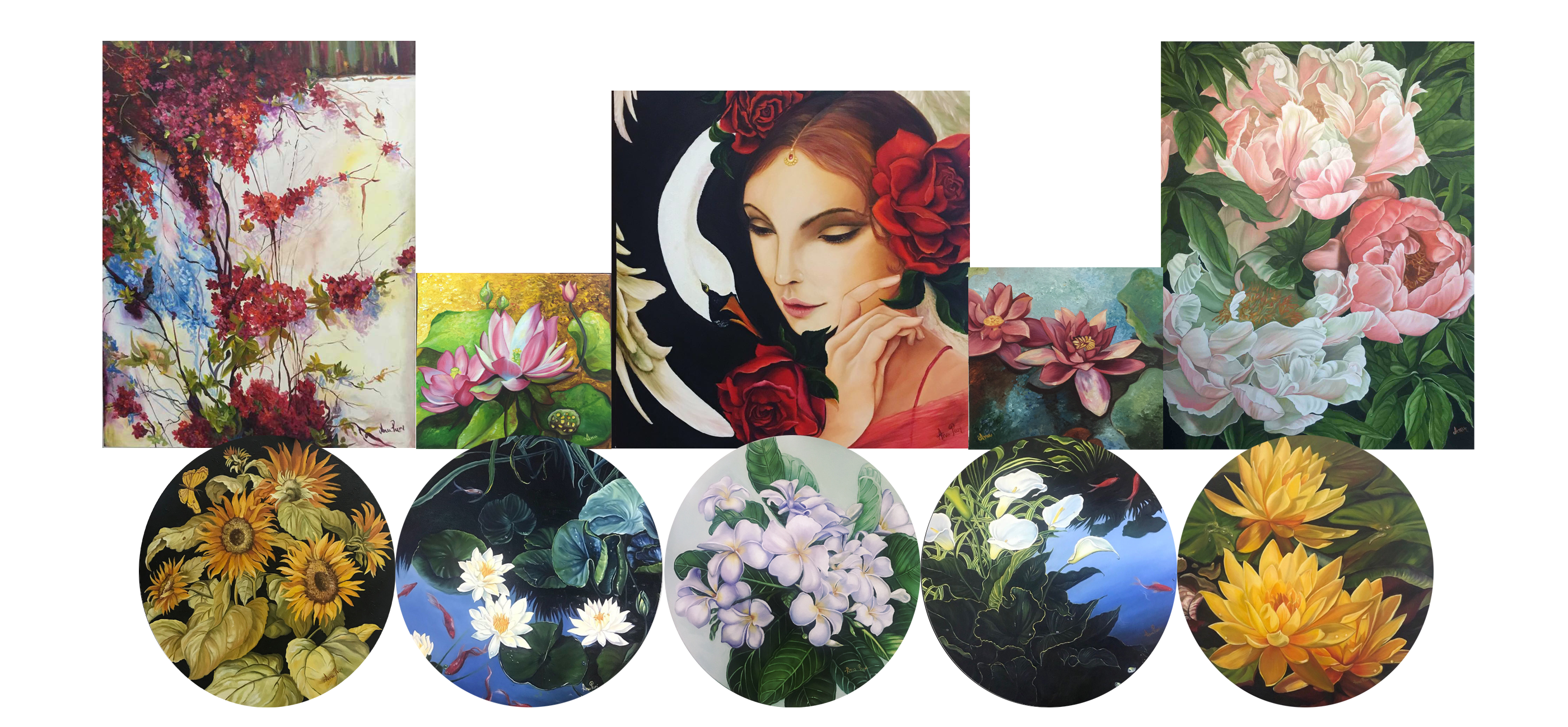 Artwork Collage of some paintings by Anu Puri